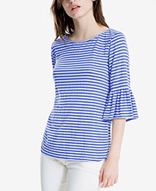 Max Studio London Striped Bell-Sleeve Top, Created for Macy's