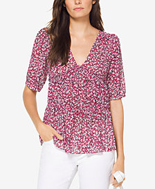 MICHAEL Michael Kors Collage Floral Top, Regular & Petite, Created for Macy's