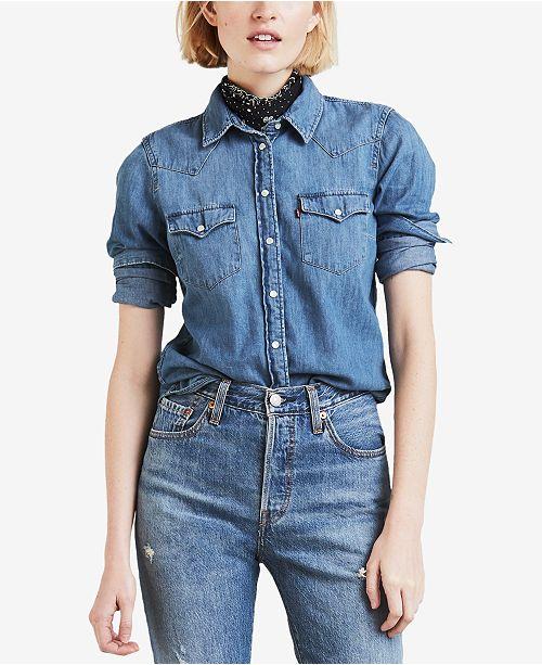 Tops Shirt Ultimate Macy's Juniors Western Levi's Denim Cotton 6IcwX