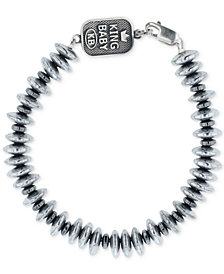 King Baby Men's Hematite (8mm) Disc Bead Bracelet in Sterling Silver