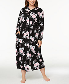 Charter Club Plus Size Bouquet-Print Cotton Robe, Created for Macy's