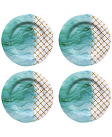 Jay Imports Soiree Teal Melamine Dinner Plates, Set of 4