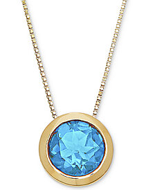 "Blue Topaz Bezel Set 20"" Pendant Necklace (1-1/2 ct. t.w.) in 14k Gold"
