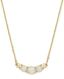 "Opal (5/8 ct. t.w.) & Diamond Accent 18"" Collar Necklace in 14k Gold"
