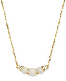 """Opal (5/8 ct. t.w.) & Diamond Accent 18"""" Collar Necklace in 14k Gold"""