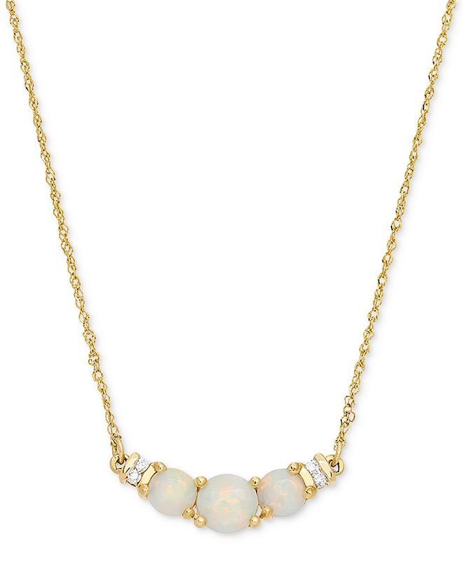 """Macy's Opal (5/8 ct. t.w.) & Diamond Accent 18"""" Collar Necklace in 14k Gold"""