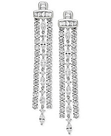 Arabella Swarovski Zirconia Linear Drop Earrings in Sterling Silver
