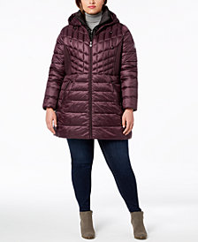Bernardo Plus Size Hooded Packable Puffer Coat