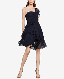 BCBGMAXAZRIA Asymmetrical Silk Chiffon Dress