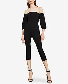 BCBGMAXAZRIA Off-The-Shoulder Cropped Jumpsuit