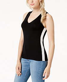 Bar III Colorblocked V-Neck Tank Top, Created for Macy's