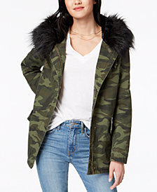 Jou Jou Juniors' Faux-Fur-Lined Hooded Anorak