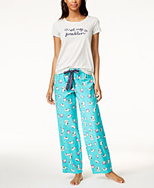 Jenni by Jennifer Moore Embroidered-Graphic Pajama Top & Printed Pajama Pants Sleep Separates, Created for Macy's