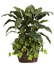 Nearly Natural 4' Double Bird of Paradise & Pothos Artificial Plants in Vase