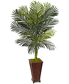 Nearly Natural 5' Golden Cane Palm Artificial Tree in Decorative Planter