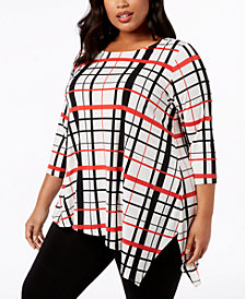 Alfani Plus Size Plaid Asymmetrical Tunic, Created for Macy's