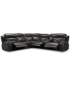 Winterton 6-Pc. Leather Sectional Sofa With 3 Power Recliners, Power Headrests, Lumbar, Console & USB Power Outlet