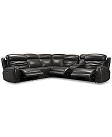 Winterton 6Pc Leather Sectional Sofa With 3 Power Recliners  Headrests New York Furniture Outlet1