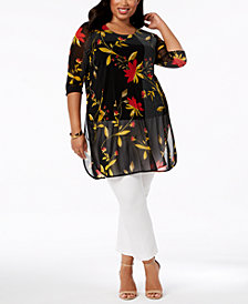 Alfani Plus Size Printed Mesh Tunic, Created for Macy's