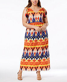 John Paul Richard Plus Size Printed Tassel-Trimmed Maxi Dress