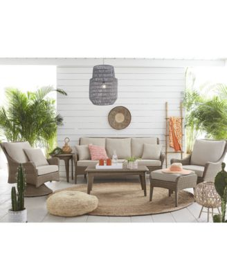 CLOSEOUT! Silver Lake Indoor/Outdoor Flat Rattan 4-Pc. Seating Set (1 Sofa, 2 Swivel Club Chairs and 1 Coffee Table) with Sunbrella® Cushions, Created for Macy's