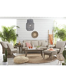 CLOSEOUT! Silver Lake Indoor/Outdoor Flat Rattan Sofa, with Sunbrella® Cushions, Created for Macy's