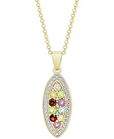 """Multi-Gemstone (3/4 ct. t.w.) & Diamond Accent Mosaic 18"""" Pendant Necklace in 14k Gold-Plated Sterling Silver"""