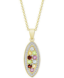 "Multi-Gemstone (3/4 ct. t.w.) & Diamond Accent Mosaic 18"" Pendant Necklace in 14k Gold-Plated Sterling Silver"