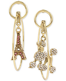 Betsey Johnson Gold-Tone Pavé Poodle & Eiffel Tower Mismatch Orbital Drop Earrings