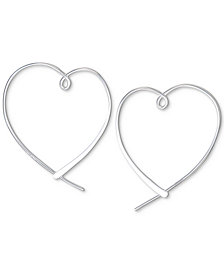 Unwritten Heart Hoop Earrings in Sterling Silver