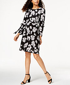 Nine West Floral-Print Tied Bell-Sleeve Dress