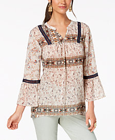 Style & Co Printed Ladder-Trim Peasant Top, Created for Macy's