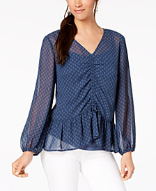 Style & Co Geo-Print Cinched Top, Created for Macy's