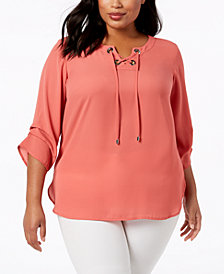 JM Collection Plus Size Lace-Up Top, Created for Macy's