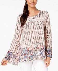 Style & Co Printed Bell-Sleeve Peasant Top, Created for Macy's