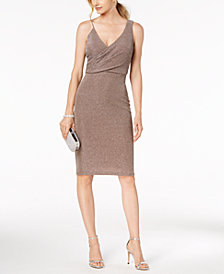 Betsy & Adam Metallic Faux-Wrap Dress