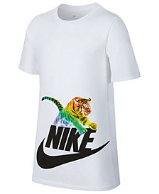 Nike Big Boys Tiger-Print Cotton T-Shirt
