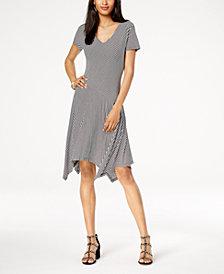 I.N.C. Striped Asymmetrical-Hem Dress, Created for Macy's