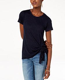 I.N.C. Petite Tie-Hem T-Shirt, Created for Macy's