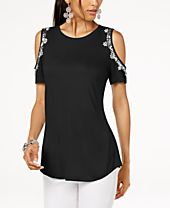 INC Embellished Cold-Shoulder Top, Created for Macy's