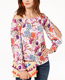 I.N.C. Floral-Print Off-The-Shoulder Top, Created for Macy's