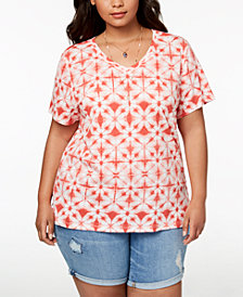 Style & Co Plus Size Printed Essential T-Shirt, Created for Macy's
