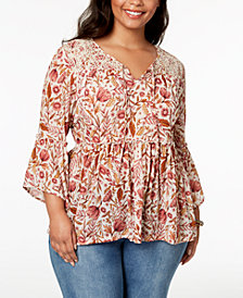 Style & Co Plus Size Printed Bell-Sleeve Peasant Top, Created for Macy's