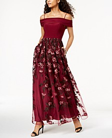 Off-The-Shoulder Embroidered Gown