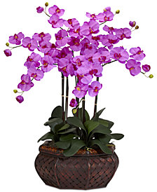 Nearly Natural Large Phalaenopsis Orchid Artificial Flower Arrangement in Decorative Vase