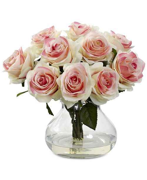 Nearly Natural Pink Rose Artificial Arrangement with Vase