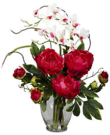 Nearly Natural Peony & Orchid Artificial Flower Arrangement