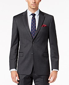 Men's Slim-Fit TH Flex Stretch Gray/White Stripe Suit Jacket