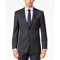 Tommy Hilfiger Men's Slim-Fit TH Flex Stretch Gray/White Stripe Suit Jacket