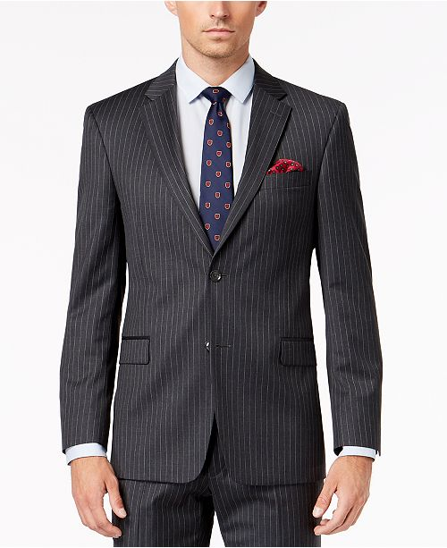 Tommy Hilfiger Men's Slim-Fit TH Flex Stretch Gray/White Stripe Suit Jacket